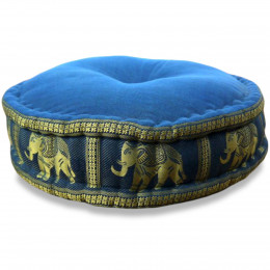 Zafu Pillow, silk, light blue elephants