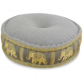 Zafu Pillow, silk, grey elephants