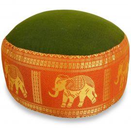 Small Zafu Pillow, silk, green-orange / elephants
