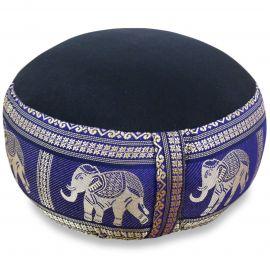 Small Zafu Pillow, silk, black-blue / elephants