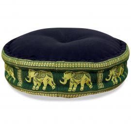 Zafu Pillow, silk, black / green elephants