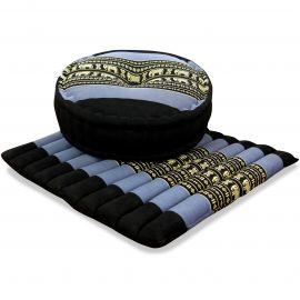 Kapok, Zafu Cushion + Quilted Seat Cushion Size L, blue / elephants
