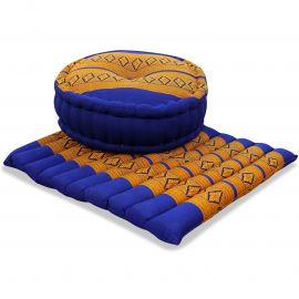 Kapok, Zafu Cushion + Quilted Seat Cushion Size L, blue / yellow