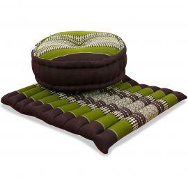 Kapok, Zafu Cushion + Quilted Seat Cushion Size L, brown / green