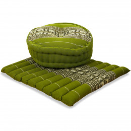 Kapok, Zafu Cushion + Quilted Seat Cushion Size L, green / elephants