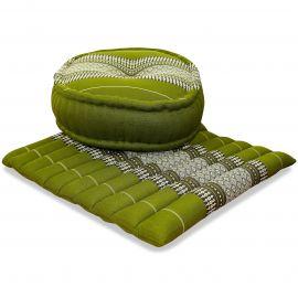 Kapok, Zafu Cushion + Quilted Seat Cushion Size L, green