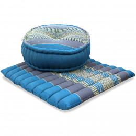 Kapok, Zafu Cushion + Quilted Seat Cushion Size L, light blue