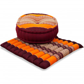 Kapok, Zafu Cushion + Quilted Seat Cushion Size L, orange