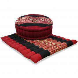 Kapok, Zafu Cushion + Quilted Seat Cushion Size L, red / elephants