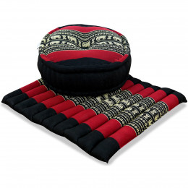 Kapok, Zafu Cushion + Quilted Seat Cushion Size L, black / elephants