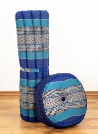 Kapok, Zafu Cushion + Quilted Seat Cushion Size XL, blue