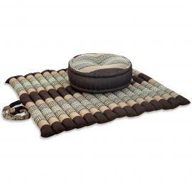 Kapok, Zafu Cushion + Quilted Seat Cushion Size XL, brown