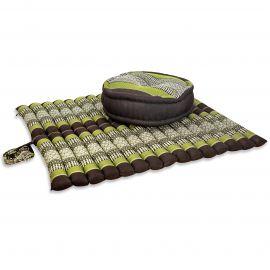 Kapok, Zafu Cushion + Quilted Seat Cushion Size XL, brown-green