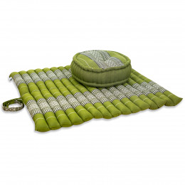 Kapok, Zafu Cushion + Quilted Seat Cushion Size XL, green
