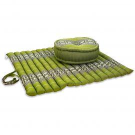 Kapok, Zafu Cushion + Quilted Seat Cushion Size XL, green / elephants
