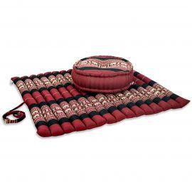 Kapok, Zafu Cushion + Quilted Seat Cushion Size XL, red / elephants