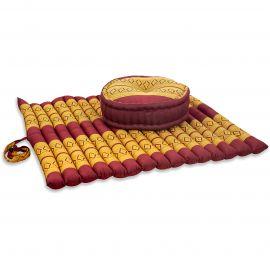 Kapok, Zafu Cushion + Quilted Seat Cushion Size XL, red / yellow