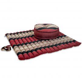 Kapok, Zafu Cushion + Quilted Seat Cushion Size XL, red / black