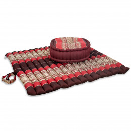 Kapok, Zafu Cushion + Quilted Seat Cushion Size XL, ruby-red