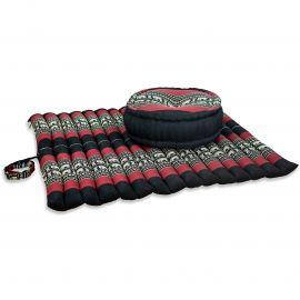 Kapok, Zafu Cushion + Quilted Seat Cushion Size XL, black / elephants