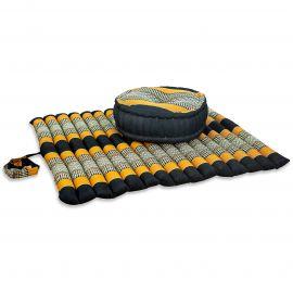 Kapok, Zafu Cushion + Quilted Seat Cushion Size XL, black / orange