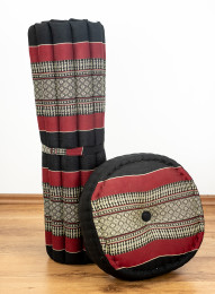 Kapok, Zafu Cushion + Quilted Seat Cushion Size XL, black / red