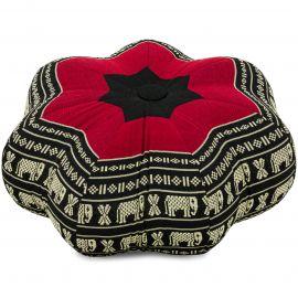 Zafu Cushion, little star, black / elephants