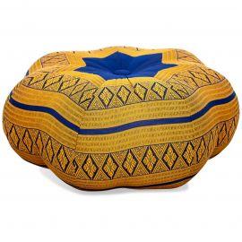 Zafu Cushion, great star, blue / yellow