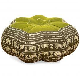 Zafu Cushion, great star, green / elephants