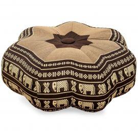 Zafu Cushion, little star, brown / elephants