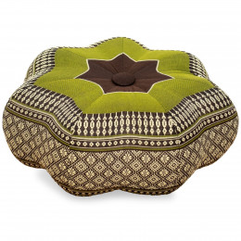Zafu Cushion, little star, brown / green