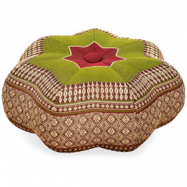 Zafu Cushion, little star, red / green
