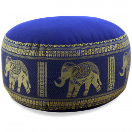 Small Zafu Pillow, silk, blue / elephants