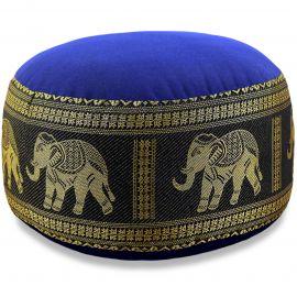 Small Zafu Pillow, silk, blue-black / elephants