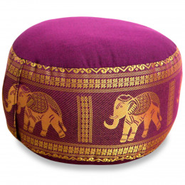 Small Zafu Pillow, silk, dark rosa / elephants