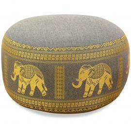 Small Zafu Pillow, silk, light gray / elephants