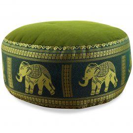 Small Zafu Pillow, silk, green / elephants