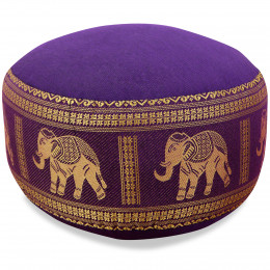 Small Zafu Pillow, silk, purple / elephants