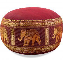 Small Zafu Pillow, silk, red / elephants