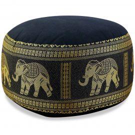 Small Zafu Pillow, silk, black / elephants