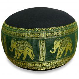Small Zafu Pillow, silk, black-green / elephants