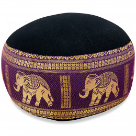 Small Zafu Pillow, silk, black-purple / elephants