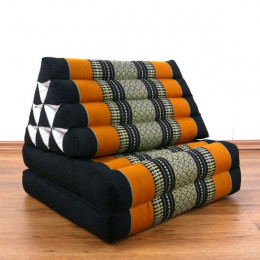 Thai Cushion 2 Fold, black / orange