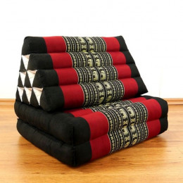 Thai Cushion 2 Fold, black elephants
